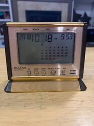 Vintage Quartz Executive Bulova Desk Clock 1985 Gold Department Calendar Alarm