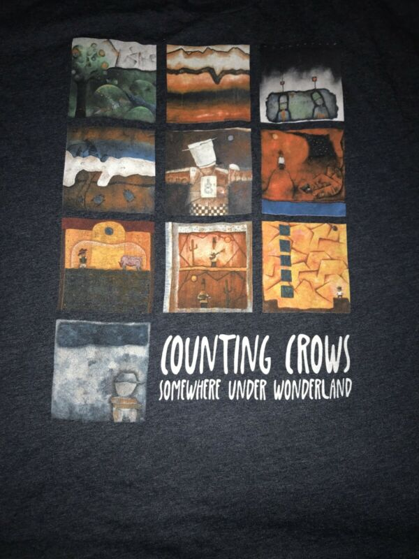 COUNTING CROWS Somewhere Under Wonderland T Shirt Men's XXL Blue Dual Sided