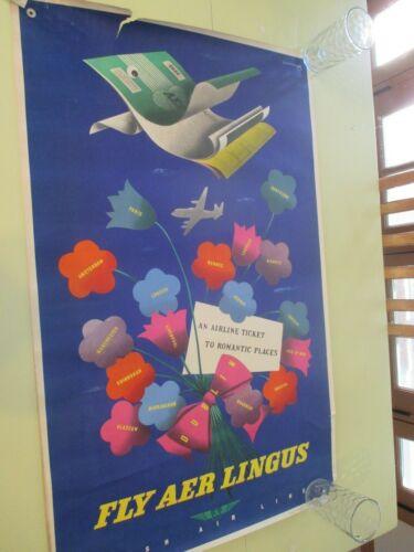 VINTAGE AER/AIR LINGUS IRISH AIRLINES ORIGINAL TRAVEL ADVERTISING POSTER RARE