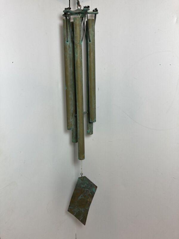 "Walter Lamp Style MCM Wind Chimes Verdigris Copper 25.5"""
