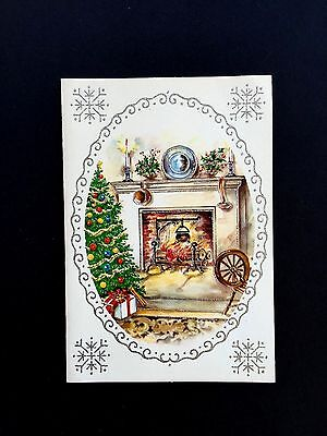 Vintage Unused Glitter Xmas Greeting Card Cozy Fireplace in Festive Living Room ()