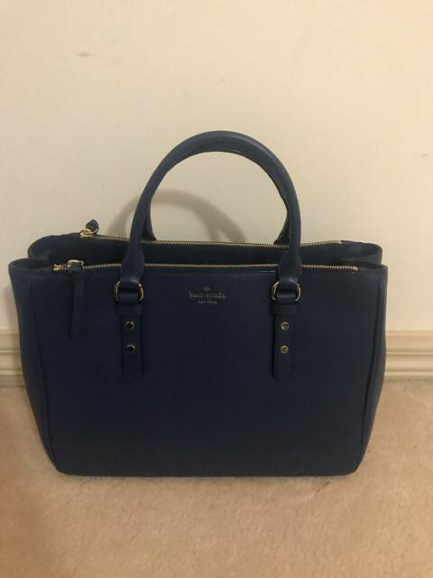 bc62528c800 KATE SPADE Blue Mulberry Street Leighann Leather Satchel Tote ...
