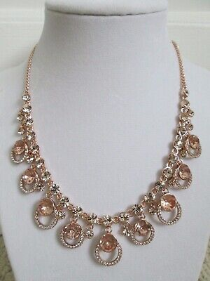 NWT Givenchy Pink Swarovski Crystal Cluster Drop Charm Rose Gold Collar Necklace