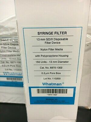 Whatman Syringe Filter Nylon Membrane 0.2um Pore Size 13mm 150ct Deal