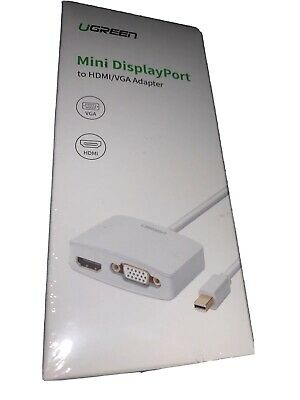 UGREEN Mini DisplayPort to HDMI VGA Adapter Converter White NEVER USED
