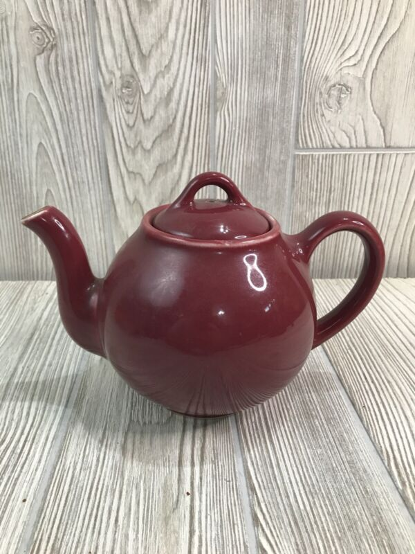 Vintage 1950s Lipton Tea Teapot Burgundy Red with Tea Ball Infuser Made In USA