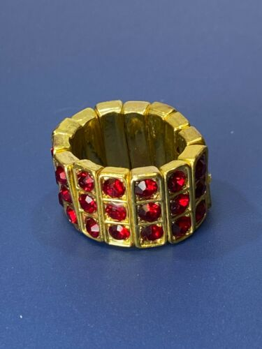 Gold Tone Bold Wide Stretch Band Ring 3 Rows of Red Rhinestones Size 8