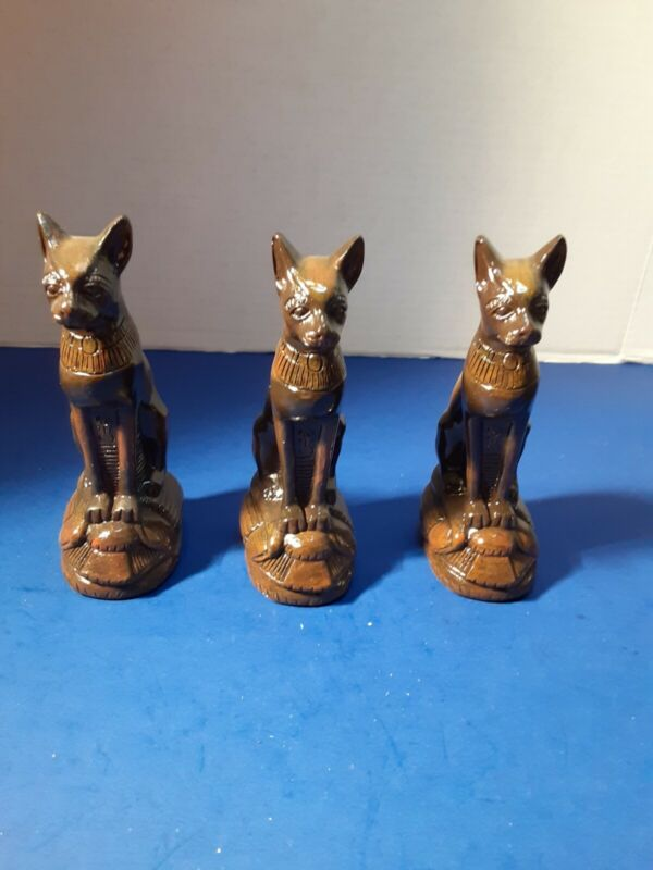 """Lot of 3 Egyptian Goddess Brown Cats Statue Home Decor Collection 5"""" tall"""
