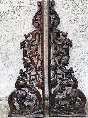 WONDERFUL ANTIQUE PAIR OF CARVED WOOD PEDIMENTS