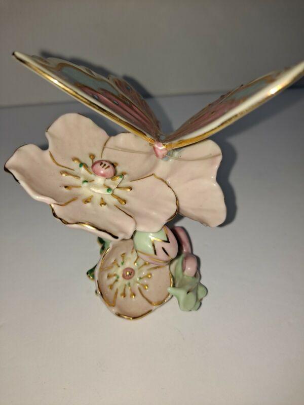 Beautiful LENOX  Pink, Blue,  Green Butterfly Figurine Sculpture Porcelain