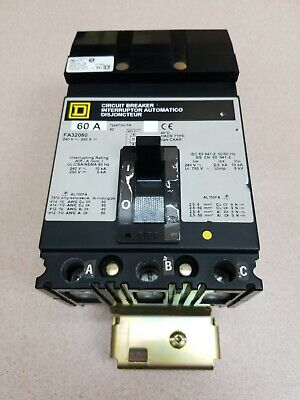 Square D Fa32060 Circuit Breaker 60 Amp 3 Pole 240 Vac