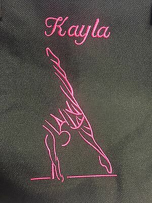 Embroidered Gymnastic Girl or Boy & Name Medium Duffel Bag Summer Sports Travel  (Embroidered Duffle Bags)