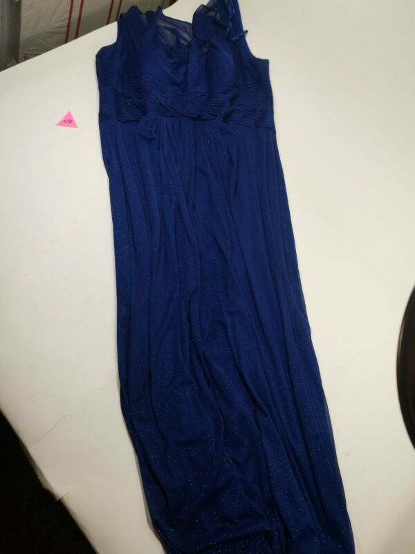 Alex Evenings Long Formal Dress Size 16W Blue Sparkly Evening Gown