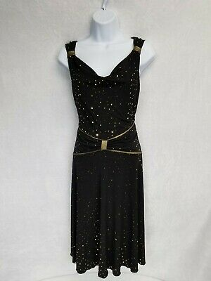 En Focus Greek Style Women's Dress Black With Gold Size 12P](Gold Greek Dress)