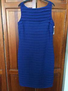 New! SCARLETT NITE Blue Bodycon Style Knee Length Shift Dress - Size 10