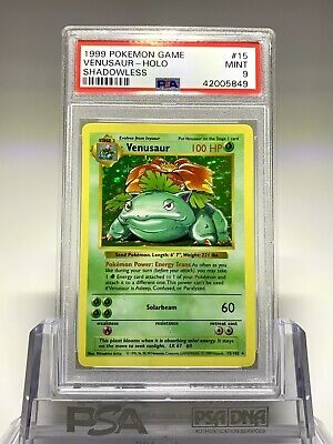 1999 Pokemon Base Set Shadowless Venusaur Holo #15/102 PSA 9 MINT WOW!!!