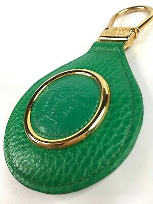 GIANNI VERSACE VINTAGE '90s MEDUSA GREEN LEATHER KEY CHAIN GOLD METAL ITALY