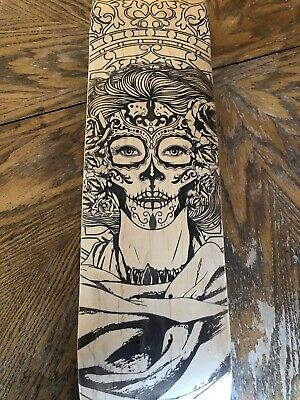"Dia De Los Muertos Woman Art Custom Laser Engraved Wood Skateboard Deck 8"" Last1"