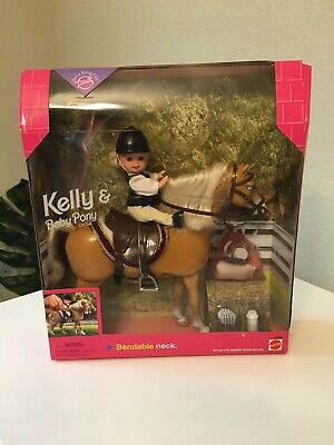 Kelly & Baby Pony Gift Set Barbie Riding Club Brown Horse Saddle 1998- MINT