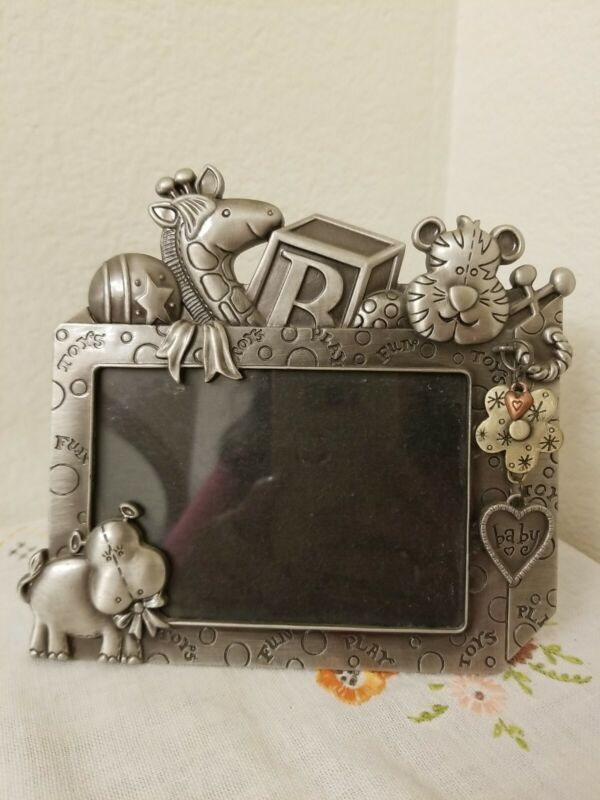 Pewter Baby Picture Frame Free Standing Nursery Decor Animals & Toys Theme