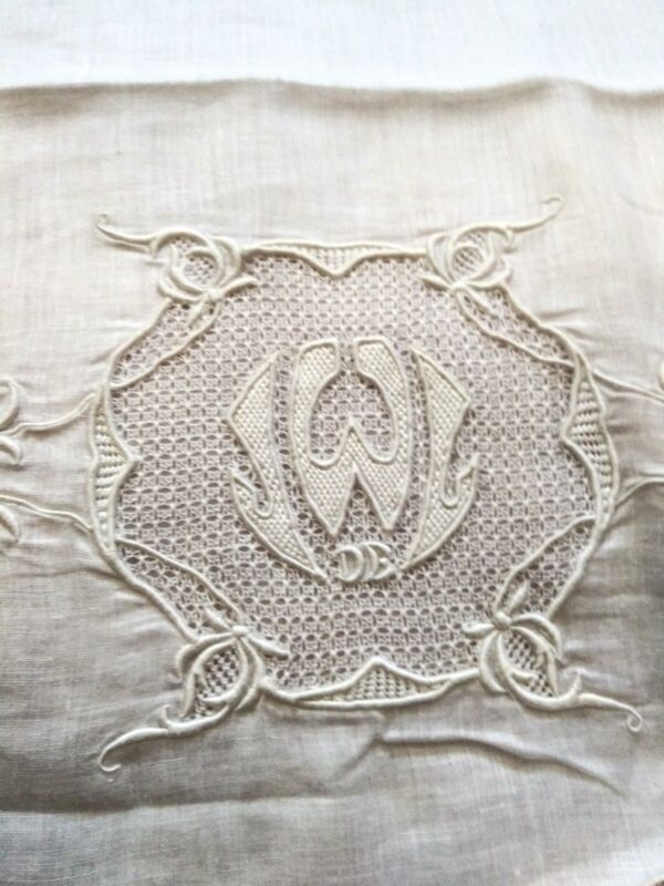 Exceptional Finely Embroidered / Drawnwork Handkerchief Linen Pillowcase