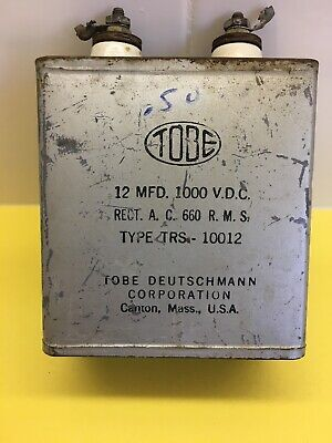 1 Tobe  Oil Filled Capacitor 12 Mfd 600 Volts Used Usa Tested