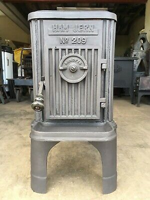 "Ham Jern 209 Classic Cast Iron Wood Burning Stove Black 4.5"" Top Flue Exit #12"