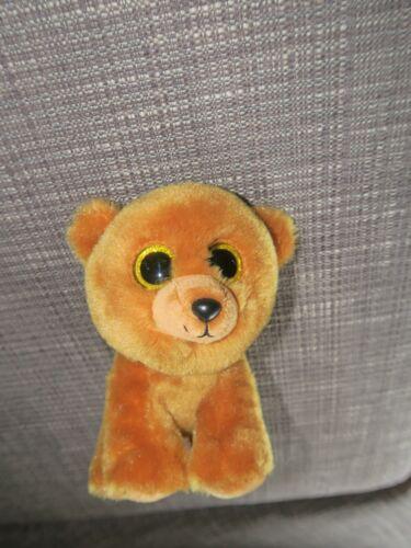 Beanie Boos Velvety TY Brownie Brown Bear Glitter Eyes Plush Stuffed Animal