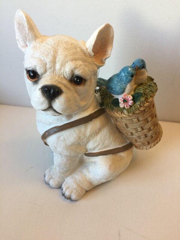 French Bulldog With Bird Basket Figurine