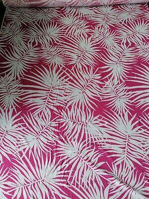 Leichter Stoff Baumwollstoff  Baumwolle pink  weiß 1,7 x 1,50 Mtr Palmenblätter