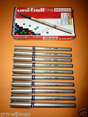 Mitsubishi Uni-ball Fine Deluxe Ub-177 0.7 Ball Pen Waterproof Black 10pcs