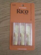 3 Pack Rico D/'addario Bb Clarinet Reeds 3.0 Strength