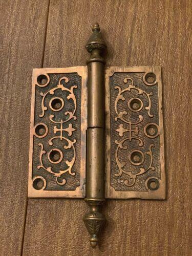"""1870 Antique 5"""" Cast Brass/Bronze Ornate Door Hinges"""