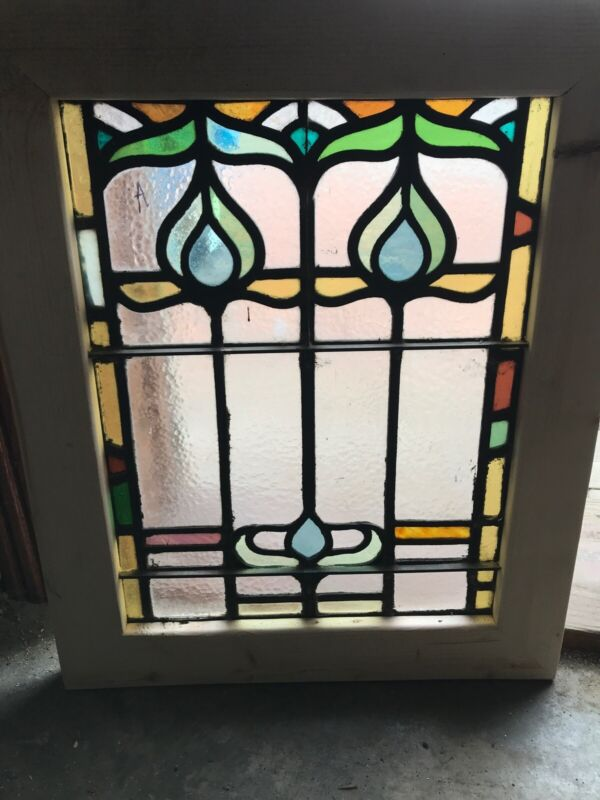 Sg 3294 Antique Stained And Textured Glass Window 20 X 24.5