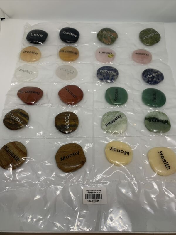 Inspirational Words Natural Stones 24 PCs. All Natural Stones