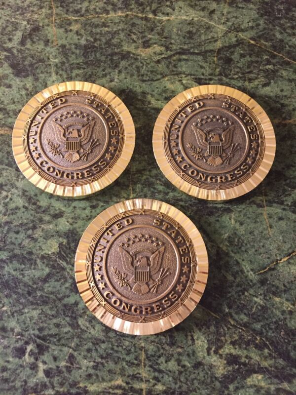 Vintage United States Congress Seal Heavy Brass USA Coasters - Set of 3