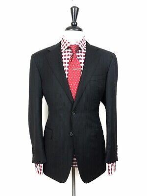 CANALI MENS BLACK STRIPED SLIM FIT WOOL SUIT 40R 32W 32L RECENT - Mens Black Wool Suit