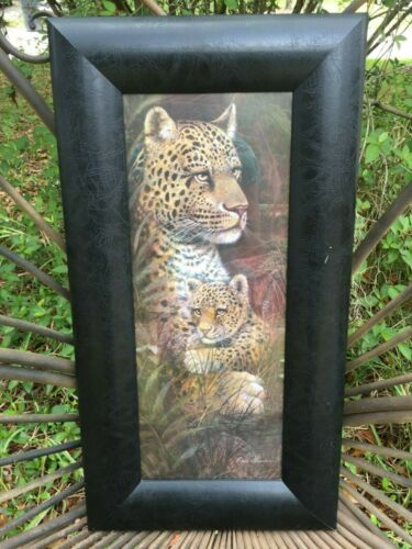 VTG Ruane Manning Print Mother Leopard and Cub in Wide Faux Leather Black Frame