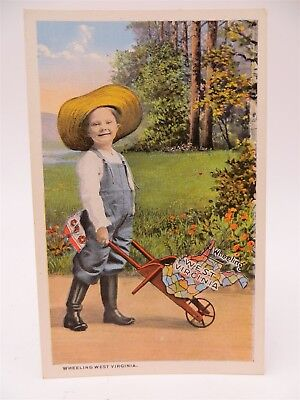 Vintage Early 1900's Postcard, Greetings From Wheeling WV - Child With Cart