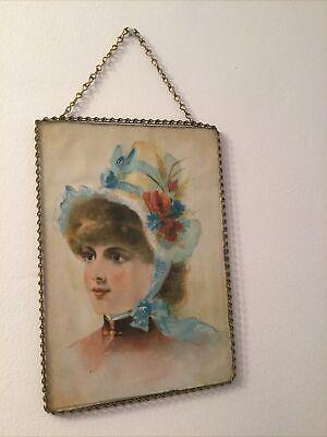 Victorian Chimney Flue Cover Beautiful Blonde Child Blue Bonnet W/ Flowers