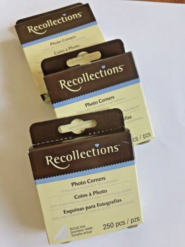 Recollections Photo Corners 3 Boxes 750 Piece Clear Photo Safe Self-Adhesive