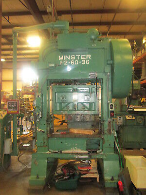 Minster P2-60-36 Straight Side Stamping Press W3 Stroke 7-10 Shut Height
