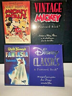2 DISNEY POSTCARD BOOKS VINTAGE MICKEY & FANTASIA DISNEY CLASSICS NEW