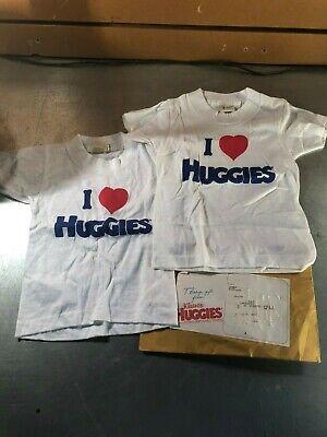 "Huggies Diapers Premiums- 2 White  ""I Heart Huggies"" T-shirts- Size: 3"