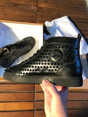 Christian Louboutin Louis Flat Calf Black Spikes Size 41 New