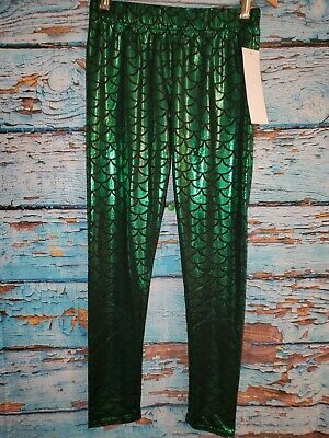 Online Legging Store Mermaid Scale Leggings Green Metallic Halloween Costume 35T ()