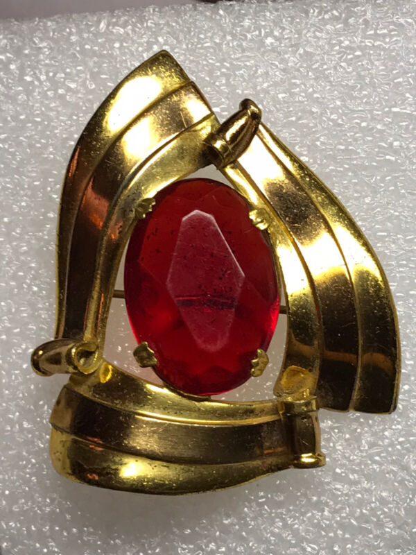 Vintage Large Brooch Gold Tone with Big Red Stone in Center