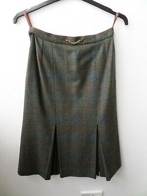 100% Pure New Wool Aquascutum Calf Length Tartan Skirt Size UK 10/12