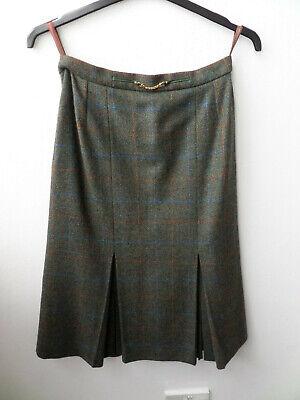 100% Pure New Wool Aquascutum Calf Length Tartan Skirt Size UK 10/12