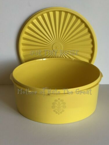 Tupperware Servalier Canister Round 8 Cup Cookie Keeper YELLOW Vintage NOS 1204
